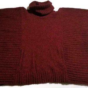 Athleta Donegal Passage Poncho Sweater Chianti S/M